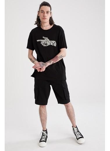 DeFacto Regular Fit Bisiklet Yaka Baskılı T-shirt Siyah